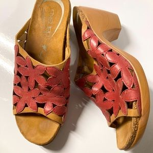 Dansko red flower open toe clogs size 37